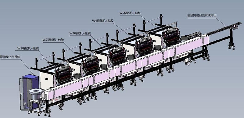 Five winding winding machine assembly line EE16 transformer automatic production line